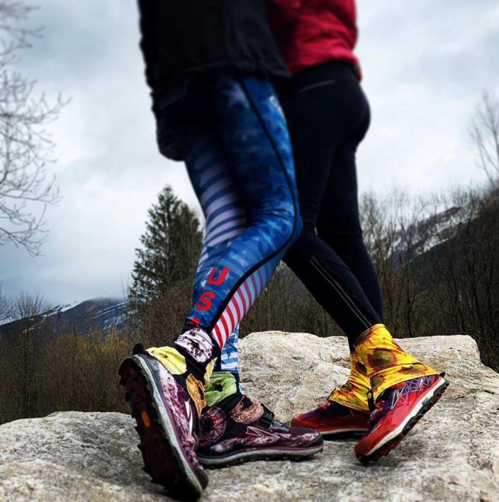 Two people wearing gaiters