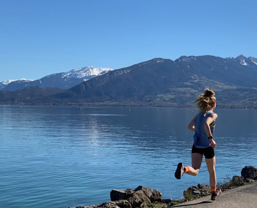 Skyrunning Girl - Running around the lake in Annecy, France.