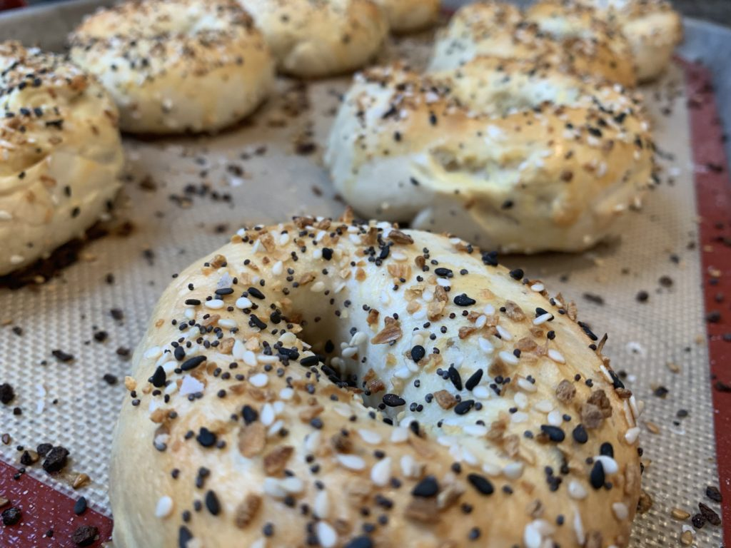 Fresh Bagels right from the oven.